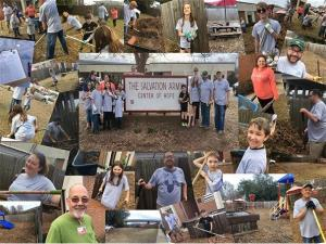 people doing yardwork for a charity